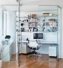 Stylish Contemporary Home Office Design With Modern White Computer Desk  With Open Shelving Unit Above To