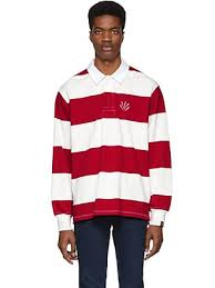 rag bone red and off white striped rugby polo