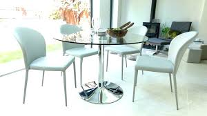 retro glass top dining table set with 6 pu leather chairs small round room e for