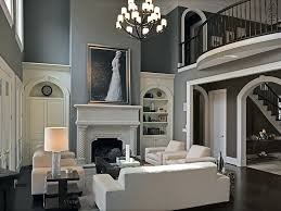 Living Room Built Ins Contemporary Living Room With High Ceiling Built In Bookshelf In