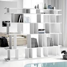 Artistic White Basic Wood Bookshelf For Modern Living Room Dividers  Interior Space Saving Hacks Divider Ideas