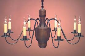 hammerworks early american reion wood chandelier hand turned center model ch109