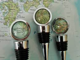 custom map wine stopper any location hostess gift housewarming gift wedding favor