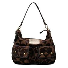 Coach Monogram Logo Large Coffee Shoulder Bags EOE Outlet Sale