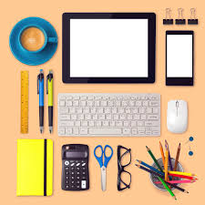 items for office desk. Download Office Desk Mock Up Template With Tablet, Smartphone And Items Stock Image - For /