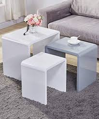 goldfan nest of 3 tables high gloss coffee table set end side tables living room furniture