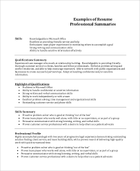 Examples Of Qualifications For Resumes 8 Resume Summary Examples Pdf Word