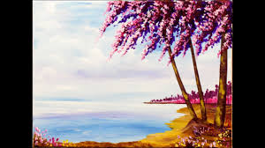 impressionist spring beach step by step acrylic painting on canvas for beginners