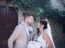 fun romantic photograph of a yorkshire bride and groom after being married in the italian