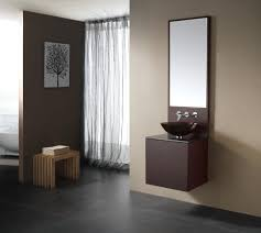 bathroom modern vanity designs double curvy set: simple dark brown vanity with round glass bowl integrated with long lean mirror for modern