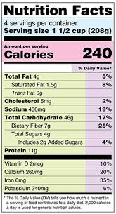 nutrition facts label sle