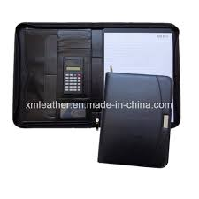 china zip black leather business planner organizer portfolio with calculator china planner leather organizer