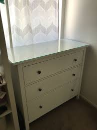ikea hemnes 3 drawer chest dresser with glass top