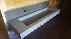 concrete trough sink floating wall