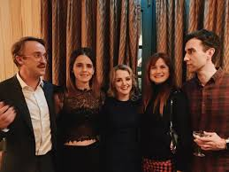 Though draco malfoy and hermione granger would never be caught dead in such close quarters, tom just revealed that the harry potter costars hang out all the time. Harry Potter Tom Felton Matthew Lewis Have A Gryffindor Vs Slytherin Moment Reunite With Emma Watson Pinkvilla