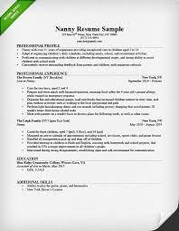 Professional Nanny Resume Sample Sample Nanny Resume Example Babysitting Children Professional
