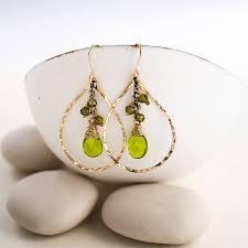peridot quartz chandelier earrings