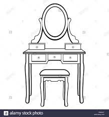 dressing table with mirror female boudoir for applying makeup coloring sketch contour black and white drawing vector ilration table with she
