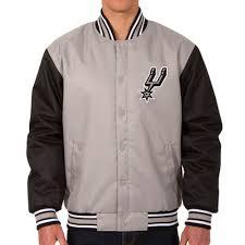 Jh Design Nba Jackets Nba Spurs Polytwill Logo Jacket Jacket Jh Design Jh Design Gray Black
