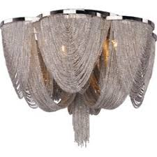 the dazzling chantilly flush mount features a metal frame gracefully draped with a nickel finished jewelry chain that conceals the xenon light source cabi lighting wayfair xenon