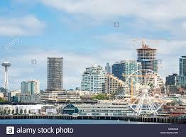 Seattle Cityscape Seattle Skyline View From Water Space Needle Great Wheel
