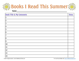 Summer Book Reading Chart Summer Reading Bits Of Everything