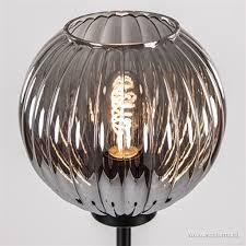 Zwarte Vloerlamp Met Smoke Glazen Kap Straluma