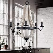 rustic reclaimed wood black metal wine barrel stave ceiling chandelier light