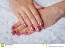 Light Pink Nail Art With Tinsel Stock Photo - Image: 58282933