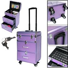 rolling makeup case with drawers 2 in 1 professional set