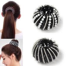 <b>M MISM</b> Pearl Rhinestones Colorful Bud Hair Claw Maker Bun ...