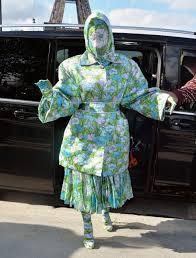 Designer Head To Toe Cardi B Wears Head To Toe Floral Ensemble To Paris Fashion Week