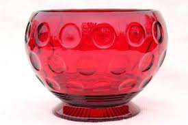 red glass bowl vintage red glass flower bowl vase dots thumbprint coin spot pattern pressed glass red glass bowl vintage
