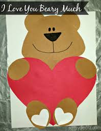 I Love You Crafts I Love You Beary Much Valentine Bear Craft For Kids Crafty Morning