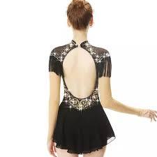 Black Long Sleeve <b>Tassels Crystal Diamond</b> Bow Figure Skating ...