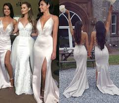 Watters Bridesmaid Size Chart Sexy Satin Split Mermaid Bridesmaid Dresses Deep V Neck Criss Cross Back Boho Bridesmaid Gowns Wedding Guest Prom Party Dresses Watters And Watters