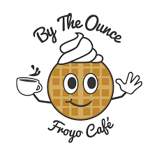 Logo for a frozen yogurt shop that also serves belgian waffles by the ounce
