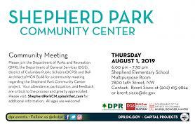 Shepherd Park Community Center Community Meeting Dgs