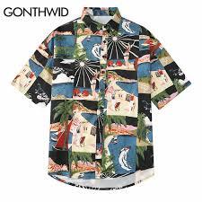 GONTHWID <b>Vintage</b> Mens Print Hawaiian Beach Aloha Shirts 2019 ...
