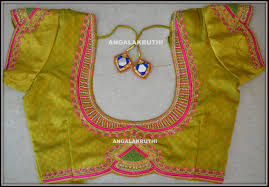 South Indian Blouse Neck Design Blouse Hand Embroidery Neck Designs By Angalakruthi Fancy