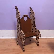 wooden giraffe toddler chair vintage nursery furniture zoo theme decor child size seat doll chair gift baby room