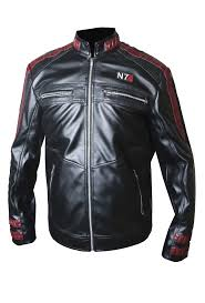 mass effect 3 n7 game red strips black real leather jacket