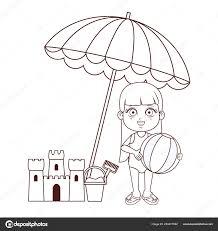 Estate Bambini Cartone Animato In Bianco E Nero Vettoriali Stock