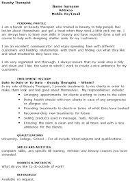 cv cover letter beauty therapist