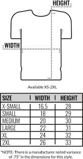 American Apparel Measurement Chart Size Chart American Apparel 50 50 T Shirts Coed Monkey