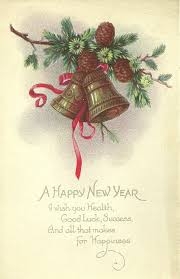 happy new years postcard vintage bell happy new year little miss celebration