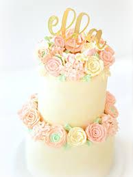 2 Tiers Pink Peach Buttercream Flowers Birthday Wedding Cake With