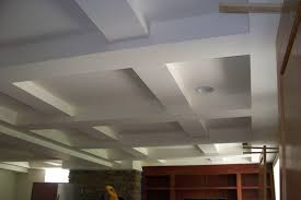 How To Decorate A Tray Ceiling Painted White Color Basement Tray Ceiling Tiles With Concrete Beam 42