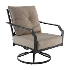 garden treasures vinehaven set of 2 metal swivel rocking chairs with tan cushioned seat