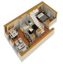 house floor plans 3d. Contemporary Plans Tiny House Floor Plans  Small Residential Unit 3d Floor Plan 3D  Plans Marketing  With C